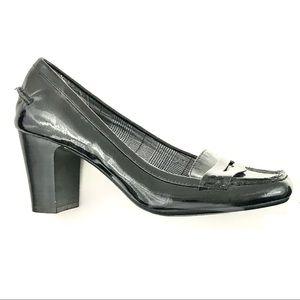 Patent Finish Loafer Pump Block Heel 7